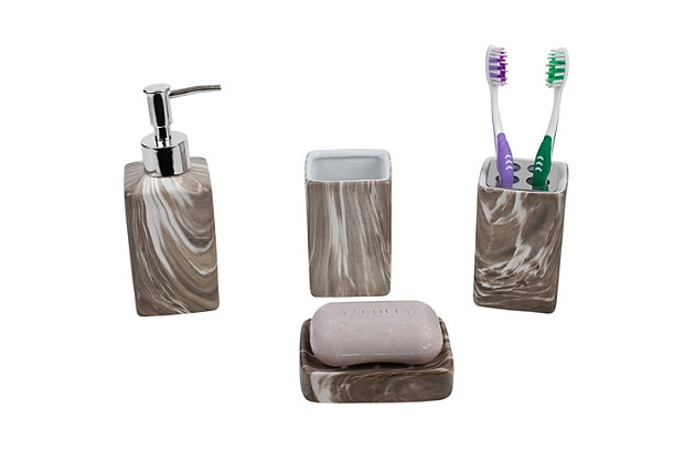 Home Accents Marble Ceramic 4 Piece Bath Accessory Set, Marble, large