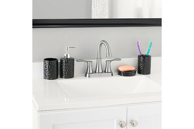 Home Accents 4 Piece Ceramic Crocodile Bath Accessory Set, Black, large