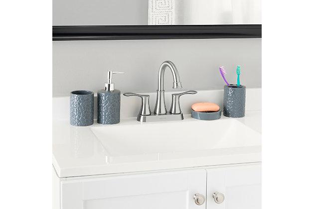 Home Accents 4 Piece Ceramic Crocodile Bath Accessory Set, Gray, large