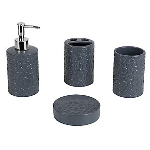 Home Accents 4 Piece Ceramic Crocodile Bath Accessory Set, Gray, large