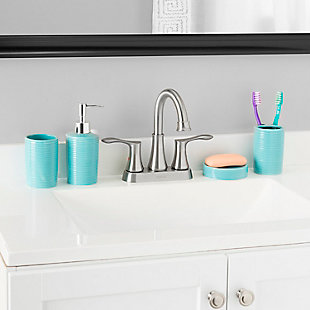 Home Accents Horizon 4 Piece Bath Accessory Set, Turquoise, rollover