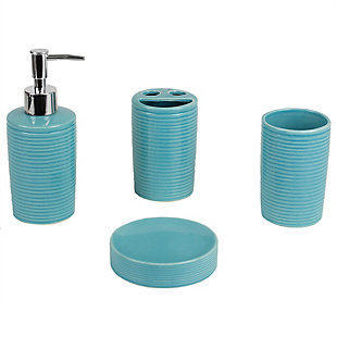 Home Accents Horizon 4 Piece Bath Accessory Set, Turquoise, large