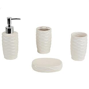 Home Accents Curves 4 Piece Bath Accessory Set, White, large