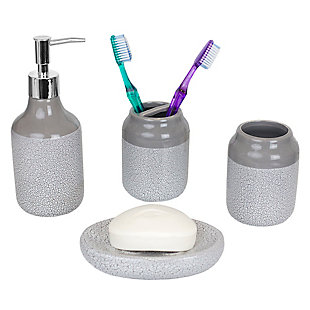 Home Accents Crackle 4 Piece Ceramic Bath Accessory Set, , large