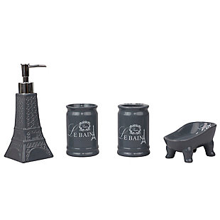 Home Accents Le Bain Paris Eiffel Tower 4 Piece Ceramic Bath Accessory Set, Gray, large