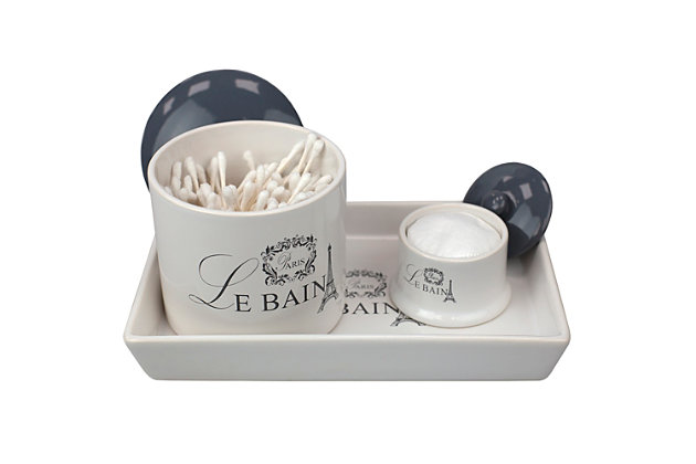 Home Accents Le Bain Paris 2 Piece Ceramic Canister Set with Coordinating Vanity Tray, , large