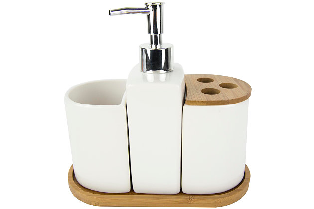 Home Accents 4 Piece Ceramic Bath Accessory Set with Bamboo Accents, , large