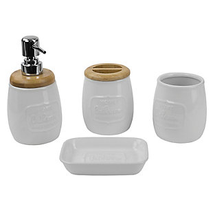 Home Accents 4 Piece Ceramic Bath Accessory Set with Rustic Bamboo Accents, , large