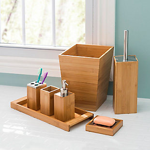 Home Accents Bamboo Waste Bin, , rollover