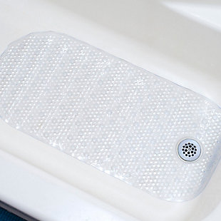 Home Accents Anti-Slip Plastic Oval Bath Mat with Back Suction Cups, , rollover