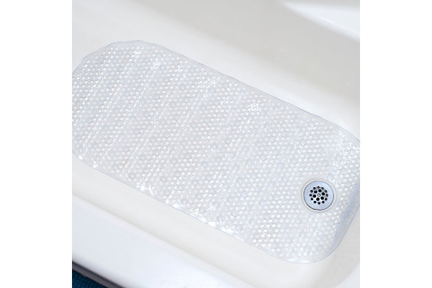 Home Accents Anti-Slip Plastic Oval Bath Mat with Back Suction Cups, , large