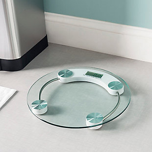 Home Accents Round Glass Bathroom Scale, , rollover