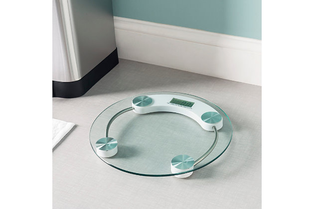 Home Accents Round Glass Bathroom Scale, , large