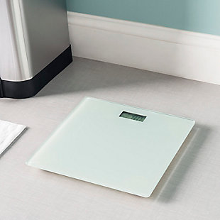 Home Accents Contemporary Sleek LCD Display Digital Glass Bathroom Scale, White, rollover