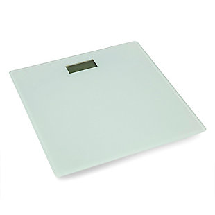 Home Accents Contemporary Sleek LCD Display Digital Glass Bathroom Scale, White, large