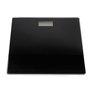 Home Accents Contemporary Sleek LCD Display Digital Glass Bathroom Scale, Black, large