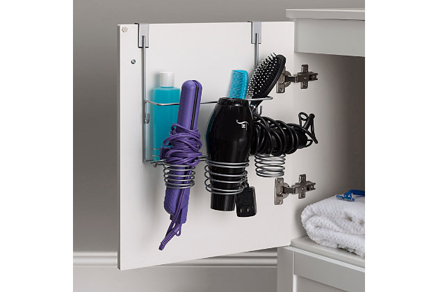 Home Accents 4 Compartment Over the Cabinet Hair Care and Styling Tool Multi-Purpose Steel Storage Organizer, , large