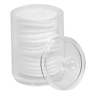 Home Accents Round Plastic Cotton Swab and Ball Holder, Clear, , large