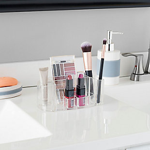 Home Accents Oval Cosmetic Organizer, Clear, , rollover