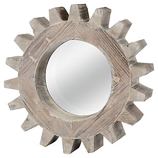 Home Accents Gear Shaped Mirror, Ivory, large