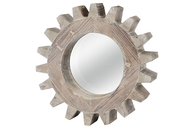 Home Accents Gear Shaped Mirror by Ashley HomeStore, White