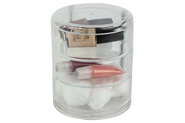 Home Accents 3 Tier Swivel Shatter-Resistant Plastic Cosmetic Organizer, , large
