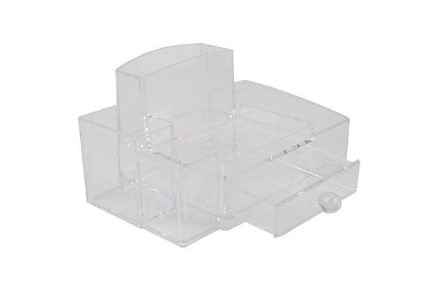 Home Accents Deluxe Medium Shatter-Resistant Plastic Multi-Compartment Cosmetic Organizer with Easy Open Drawer, , large