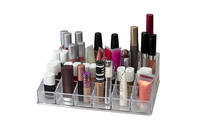 Home Accents 24 Compartment Transparent Plastic Cosmetic Makeup and Nail Polish Storage Organizer Holder, , large