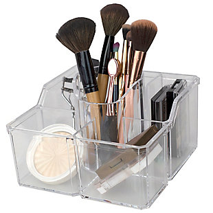 Home Accents 4 Divided Compartment Extra Large Capacity Makeup Cosmetic Holder Storage Organizer, , rollover