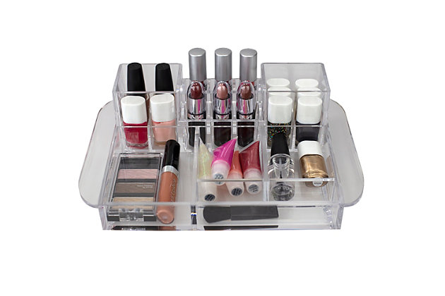 Home Accents Deluxe 16 Compartment Transparent Plastic Cosmetic Makeup and Jewelry Storage Organizer, , large