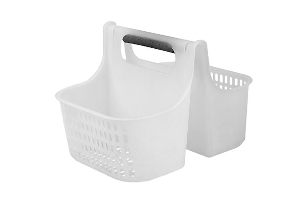 Home Accents Two Compartment Plastic Shower Tote with Non-Slip Handle, , large