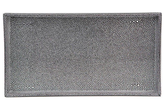 Home Accents Plastic Vanity Tray, Silver, large