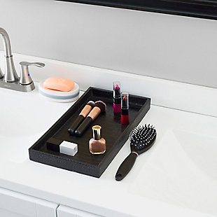 Home Accents Crocodile Plastic Vanity Tray, Black, rollover