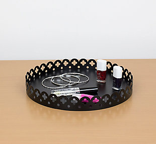 Home Accents Round Scallop Decorative Plastic Vanity Tray, , rollover