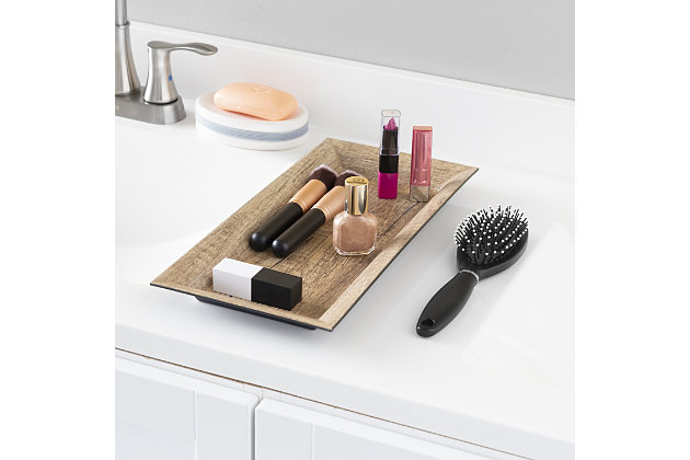 Home Accents Plastic Vanity Tray, Gold, large