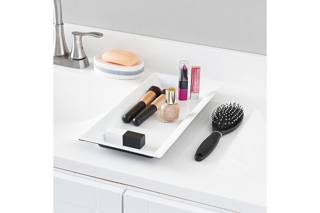 Home Accents Plastic Vanity Tray, White, large