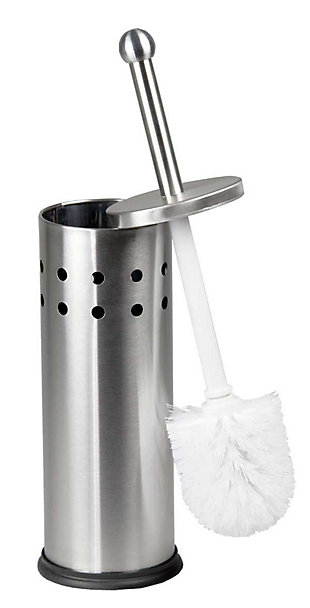 Home Accents Home Basics Vented Stainless Steel Toilet Brush Set, , large