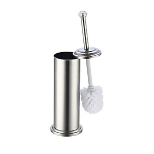 Home Accents Stainless Steel Toilet Brush Holder with Diamond Top, , large