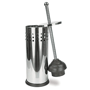 Home Accents Brushed Stainless Steel Toilet Plunger, , large