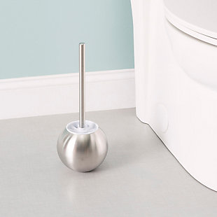 Home Accents Hide-Away Toilet Brush with Round Stainless Steel Hygienic Holder, , rollover