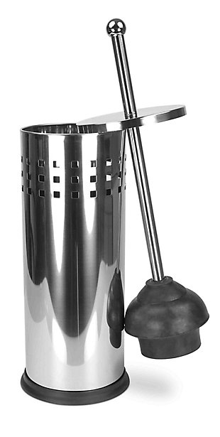 Home Accents Stainless Steel Toilet Plunger & Holder, , large