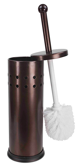 Home Accents Vented Stainless Steel Toilet Brush Set, , large