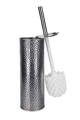 Home Accents Hammered Stainless Steel Toilet Brush Holder, , large
