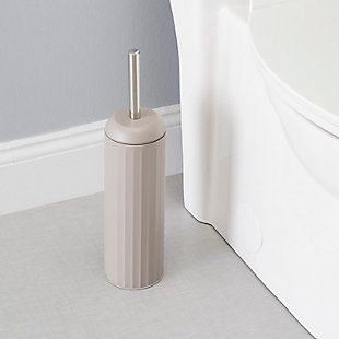 Home Accents Modern Chic Hide-Away and Splash Proof Toilet Brush with Hygienic Holder, , rollover