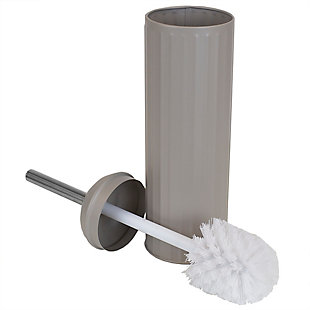 Home Accents Modern Chic Hide-Away and Splash Proof Toilet Brush with Hygienic Holder, , large