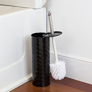 Home Accents Textured Steel Hide-Away and Splash Proof Toilet Brush with Hygienic Holder, , rollover