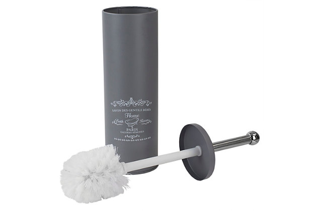 Home Accents Paris Collection Hide-Away and Splash Proof Toilet Brush with Hygienic Holder, , large