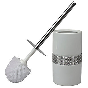 Home Accents Sequin Accented Ceramic Luxury Hideaway Toilet Brush Holder with Steel Handle, White/Silver, large