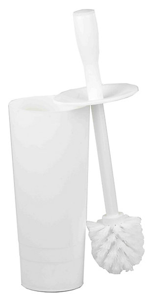 Home Accents Plastic Toilet Brush Holder, White, large