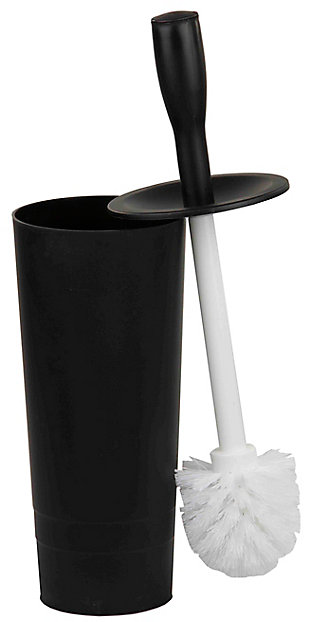 Home Accents Plastic Toilet Brush Holder, Black, large